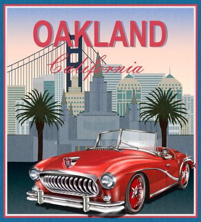 Affiche rétro d'Oakland, en Californie, avec carte et ville au dos Banque d'images - 98561877