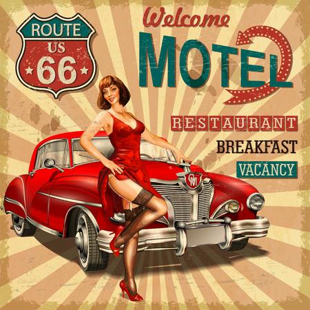 모텔 루트 66 빈티지 포스터 일러스트
