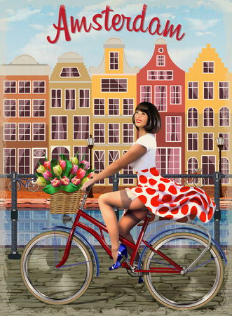 Amsterdam vintage poster.Happy Pin-up girl on a bike with flowers.
