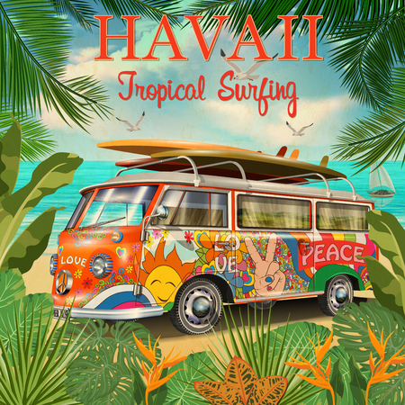 Hawaii retro posterwith retro bus. Иллюстрация