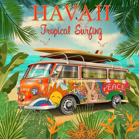 Hawaii retro posterwith retro bus. Illustration