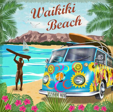 Waikiki retro poster with retro bus.