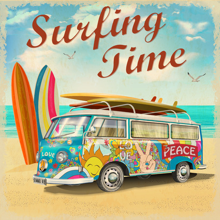 Surfing time poster with retro bus.