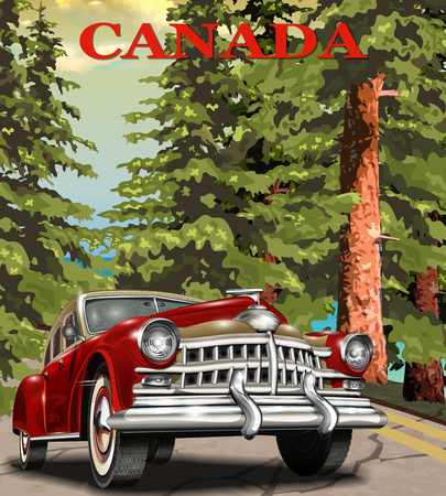 Vintage Canada retro car poster. Иллюстрация