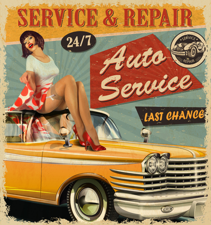 Vintage Auto Service retro poster with retro car and pin-up girl. Vettoriali