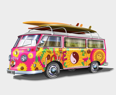 Retro bus with surf boards