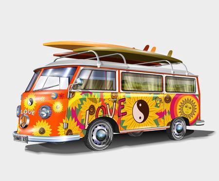 Bus rétro avec planches de surf