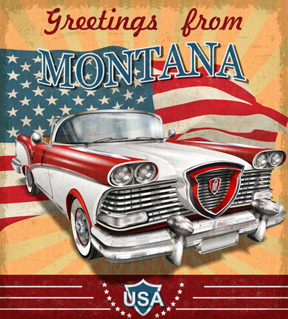 Vintage touristic greeting card with retro car.Montana.