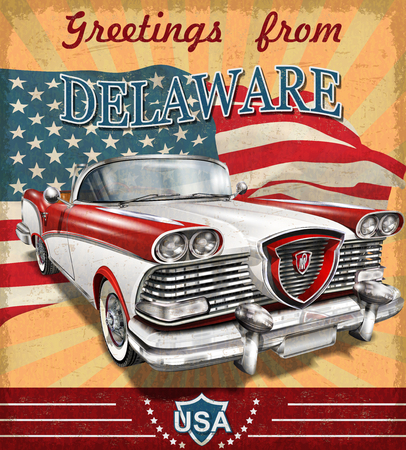 Vintage touristic greeting card with retro car.Delaware. Stock Illustratie