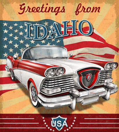 Vintage touristic greeting card with retro car.Idaho. Stock Illustratie