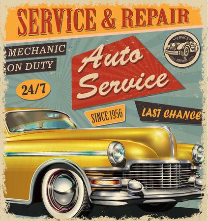 Vintage Auto Service retro poster.