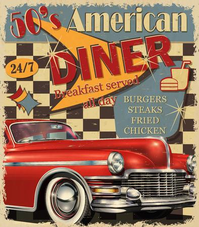 Affiche vintage American Diner. Vecteurs