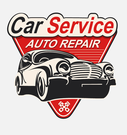 Vector label Auto Repair vintage car. Иллюстрация