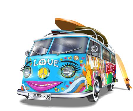 Retro bus met surfplanken