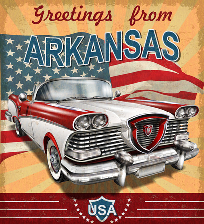 Vintage touristic greeting card with retro car.Arkansas.