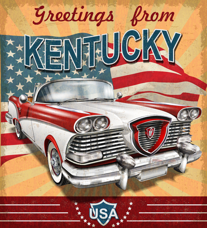Vintage touristic greeting card with retro car.Kentucky.