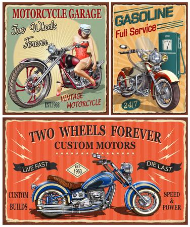 Satz Vintage Motorrad Metallschilder.