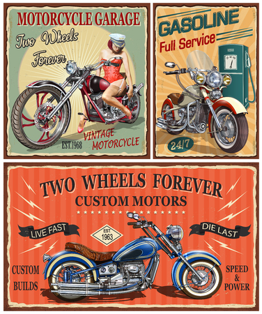 Set of vintage motorcycle metal signs.