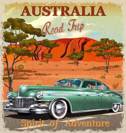 Australia road trip poster. Ilustração