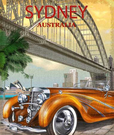 Vintage Sydney, Australia poster. Illustration