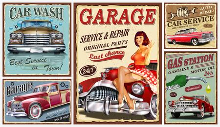 Conjunto de carteles de metal de coches antiguos, garaje, estación de servicio, cartel retro de lavado de coches. Ilustración de vector