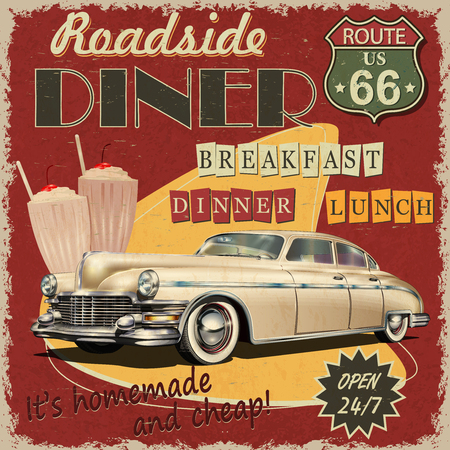 Cartel vintage de American Diner. Ilustración de vector
