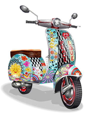 Hippie vintage scooter.