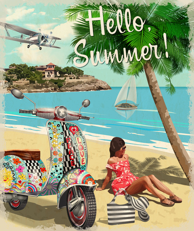 Hello summer poster with hippie vintage scooter and girl.