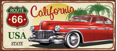 California vintage metal sign, vector illustration. Stock Illustratie