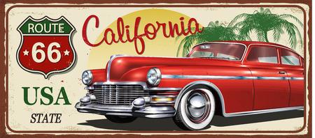 Californië vintage metalen bord, vectorillustratie.