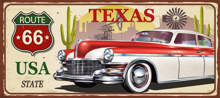 Texas vintage metal sign, vector illustration.