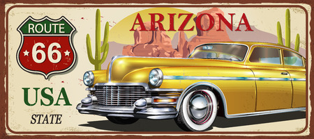 Arizona vintage metal sign, vector illustration. Illustration