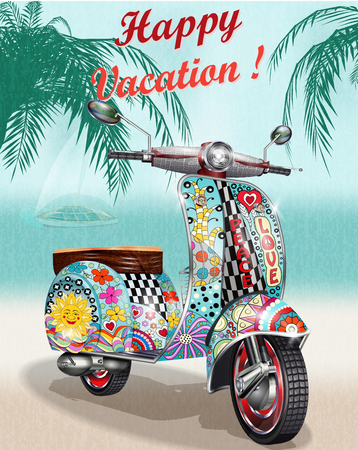 Happy vacation poster with hippie vintage scooter. Illustration