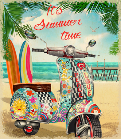 Summer poster with hippie vintage scooter.