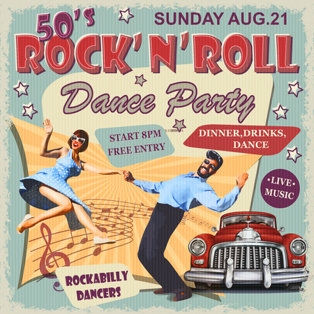 Rock and Roll Dance Party retro poster. Stock fotó - 115903654