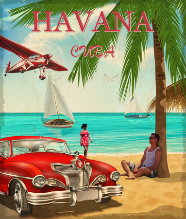 Havana retro poster. Illustration