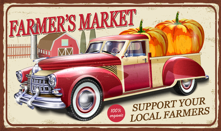 Cartello in metallo del mercato degli agricoltori con pickup retrò. Vettoriali