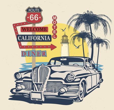 Typographie californienne pour impression de t-shirt avec signe route 66 et voiture rétro. Affiche vintage. Vecteurs