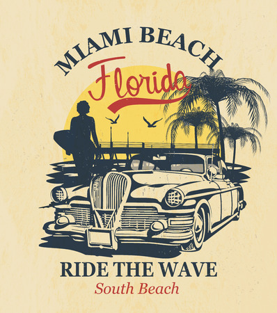 Florida typography for t-shirt print with surf,beach and retro car.Vintage poster.