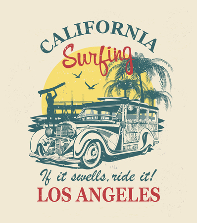 California typography for t-shirt print with surf,beach and retro Woody Car.Vintage poster.