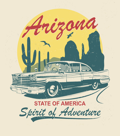 Arizona typography for t-shirt print with sign route 66 and retro car.Vintage poster.