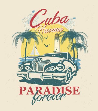 Kuba-Typografie für T-Shirt-Druck mit Sonne, Strand und Retro-Auto. Vintage-Poster.