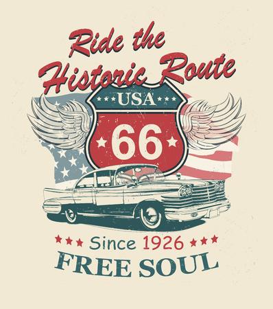 Route 66-Typografie für T-Shirt-Druck mit Schild Route 66 und Retro-Auto. Vintage-Poster.