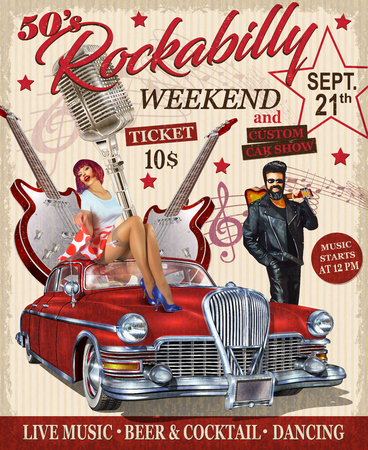 Rockabilly retro poster.
