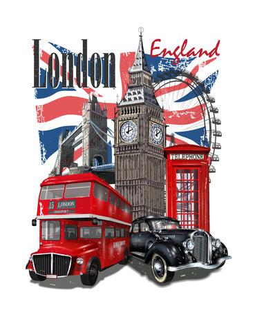 Tipografía londinense para estampado de camisetas con Big Ben, coche retro, autobús y cabina telefónica roja. Ilustración de vector
