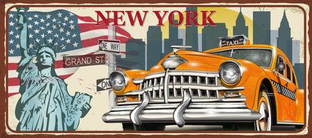 Nowy Jork vintage metalowy znak, ilustracji wektorowych.