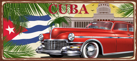 Cuba vintage metal sign, vector illustration. Illustration
