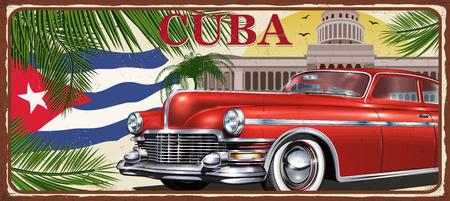 Cuba vintage metalen teken, vectorillustratie.
