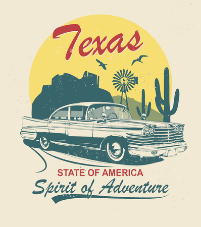 Texas typography for t-shirt print with sign route 66 and retro car.Vintage poster. Ilustração
