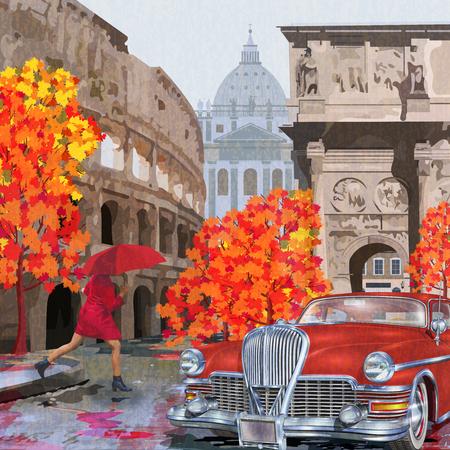 Rainy Rome vintage poster.